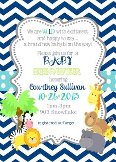 Jungle Animals Baby Shower Invitation Digital or printable file- safari animals by noteablechic on Etsy