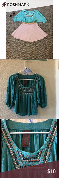 WallpapHer Teal Boho Cropped Beaded Blouse One of my favorite shirts. A couple of beads are missing but other than that it still looks fantastic. A wardrobe must have :) Wallpapher Tops Crop Tops