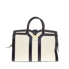Saint Laurent Chyc Cabas Tote Leather Large   From a collection of rare vintage tote bags at https://www.1stdibs.com/fashion/handbags-purses-bags/tote-bags/