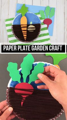 Garden craft for kids made with paper plate and yarn. Kids can learn about root veggies and plant carrots, beets and onions. Pair it with a vegetable lesson. Great for preschoolers, kindergartners and older kids #gardencraft #veggiecraft #nontoygifts #paperplatecraft #yarncraft