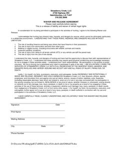 Liability Form Template | Printable Sample Release And Waiver Of Liability Agreement Form