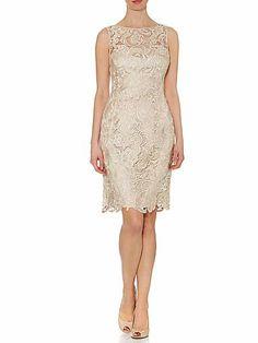 Sleeveless guipure lace shift dress