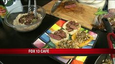 Teriyaki Flank Steak - onion, orange juice, garlic, rosemary, mushrooms, cheese, cabbage