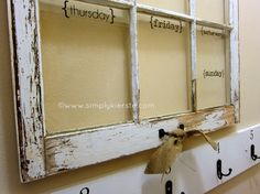 Use an old window as a weekly dry-erase calendar!!! Plenty of space to write in, and you can see your week all in one glance!  {simplykierste.com)