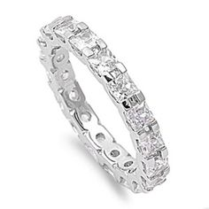 New Fashion Brilliant Cut Birthstone Wedding Sterling Silver Clear Baguette Cz Fashion Ring Cz, Moissanite & Simulated Fine Jewelry Sets