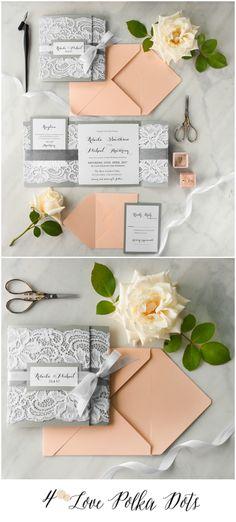 Peach & Grey Lace wedding invitation #peach #grey #romantic #wedding #weddingideas #invitation #weddingcolors #elegant #vintage
