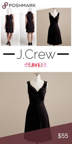 J. Crew Black Dress * Excellent Condition; Like New! * Worn once for an occasion, then stayed at the back of the closet. Looking for a new home for this beauty. * J. Crew Black Dress with gorgeous ruffling details.   * Can be dressed casually with flats/sandals.  * Can be dressed up with heels and big curly hair. It's a versatile piece to have in your closet.  * Retails for $150, so grab yourself a bargain! * From smoke/pet-free home * Tags: Kate Spade, BCBG, Free People, Anthropologie J…
