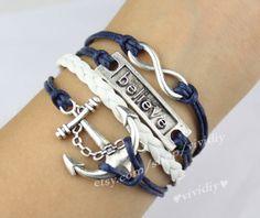 Infinite believe anchor ancient silver bracelet navy by vividiy, $4.99