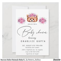 Racoon Safari Animals Baby Shower Invitation Safari Animals, Baby Animals, Racoon, Baby Shower Invitations For Boys, Rustic Invitations, Create Your Own Invitations, Woodland Baby, Colored Envelopes, Paper Texture
