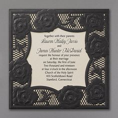 A layer of black paper lace is laser cut and embossed to make a gorgeous impression on this wedding invitation. Your wording is printed on a shimmer card. Embossed Wedding Invitations, Black And White Wedding Invitations, Lace Invitations, Laser Cut Invitation, Wedding Invitation Design, Wedding Stationery, Wedding Planning Timeline, Destination Wedding Planner, Cheap Wedding Venues