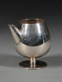 European Furniture & Decorative Arts | F - Sale 2566B - Lot 235    William Spratling Sterling Cocktail Server, Taxco, Mexico, mid-20th century, snifter-form, with short, straight spout, on low stem and round foot, ht. 5 1/2 in., approx. 13 troy oz.   Estimate $1,000.00-1,500.00
