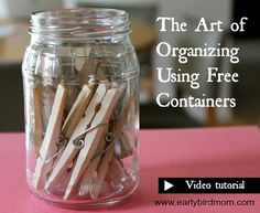 Frequently people think that organizing means spending a lot of money on a bunch of new containers. But organizing doesn't have to cost any money - you probably have plenty of attractive, suitable containers in your home right now! See this helpful video tutorial for some easy ideas on how you can organize your home using things you already have on hand.