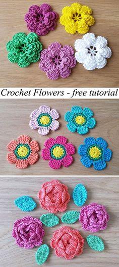 Amazing Free Crochet Patterns For Crochet Lovers - Diy And Crafts Crochet Flower Patterns, Crochet Motif, Crochet Flowers, Crochet Yarn, Easy Crochet, Crochet Stitches, Knitting Patterns, Tutorial Crochet, Crochet Ideas