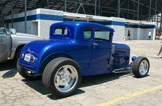 1931 Ford 5-window coupe, fenderless, blue metallic..our's was red