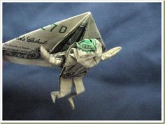 """Money Origami. My 9 year old is obsessed with """"the ancient art of origami"""" (his words)....  he's gonna love this site!"""
