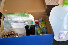 """simple tornado emergency kit to keep in our bathroom """"shelter"""""""