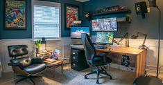 Bedroom Setup, Room Design Bedroom, Bedroom Ideas, Home Studio Desk, Studio Setup, Pc Setup, Desk Setup, Cool Desktop, Video Game Rooms