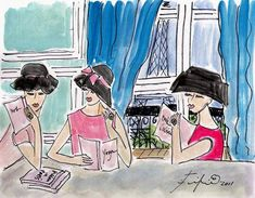 Three Women Read in Paris | Etsy