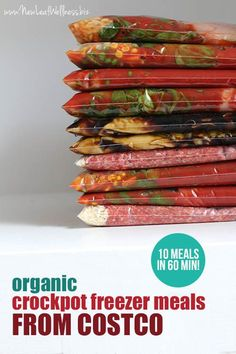 Organic Crockpot Freezer Meals From Costco (10 meals in 60 minutes!). Printer-friendly recipes and grocery list included.
