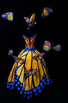 Monarch Butterfly Dress, World of Wearable Art Awards Wellington NZ, Illumination Illusion Section Arte Fashion, Ideias Fashion, Fashion Design, Fashion Details, Fashion Fashion, Fashion Trends, Halloween Kostüm, Halloween Costumes, Witch Costumes