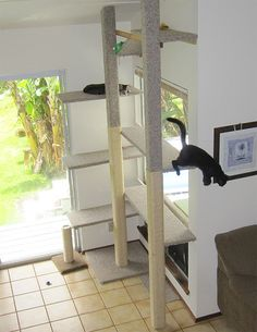 Very nicely designed DIY cat tree. Suits both - cat behavioral needs, as well as visually appealing to humans.
