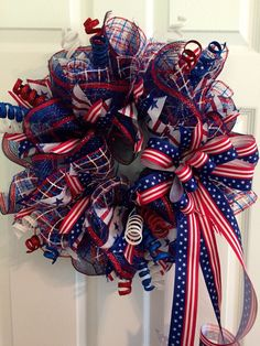 Patriotic Wreath, Fourth of July Wreath, Memorial Day Wreath, wreath, Deco mesh Wreath, red white and Blue Wreath, Anytime Wreath by RoesWreaths on Etsy https://www.etsy.com/listing/236369751/patriotic-wreath-fourth-of-july-wreath