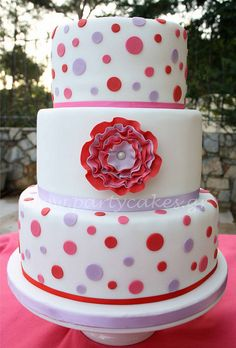 Ruffle rose cake version 2 by Party Cakes By Samantha, via Flickr polka dots, ruffl, color combos, smash cakes, 12th birthday, rose cake, party cakes, baby showers, polka dot party