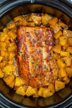 Slow Cooker Pineapple Pork is delicious and tender, all you need is just 5 ingredients. A great family dinner with a tasty tropical twist. recipes Slow Cooker Pineapple Pork Loin [video] - Sweet and Savory Meals Crock Pot Recipes, Crockpot Dishes, Pork Dishes, Slow Cooker Recipes, Cooking Recipes, Crockpot Meals, Tasty Food Recipes, Crock Pots, Cupcake Recipes