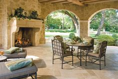 Private Residences - Country French - traditional - porch - dallas - Fusch Architects, Inc. Outdoor Living Rooms, Living Spaces, Traditional Porch, Traditional Exterior, Country House Design, Relax, Fireplace Design, Fireplace Ideas, Fireplace Mortar
