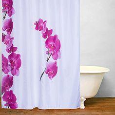 Eforgift Pretty Pink Shower Curtain Polyester Waterproof Orchids Flower Bathroom Mildew Resistant Spring Pattern Design