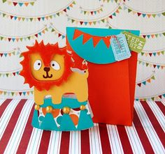 Circus Lion Card & Envelope created with the new Wild Card 2 cartridge! Cricut Invitations, Carnival Birthday Invitations, Scrapbook Paper Crafts, Scrapbook Cards, Scrapbooking, Paper Crafting, Cricut Cards, Animal Cards, Card Envelopes