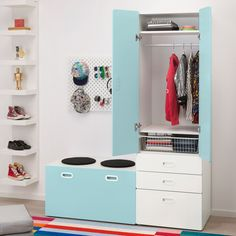 STUVA / FRITIDS Wardrobe with storage bench, white, light blue, A big box for toys and a spacious wardrobe for both hanging and folded clothes. Clothes Rail, Hanging Clothes, At Home Furniture Store, Modern Home Furniture, Childrens Storage Units, Changing Table With Drawers, Room Interior, Interior Design Living Room, Kids Clothes Storage