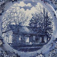 Blue Mintons Transferware Plate marked Birmingham by Hallingtons, $29.95