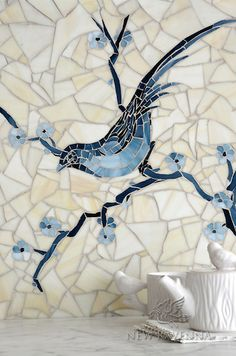 Chinoiserie, a hand cut jewel glass mosaic shown in Marcasite, Pewter and Mica with Quartz Sea Glass™, is part of the Delft Collection by Sara Baldwin for New Ravenna Mosaics. Copyright New Ravenna ® Tile Art, Mosaic Art, Mosaic Glass, Stained Glass, Wall Tile, Tile Murals, Fused Glass, Mosaic Animals, Mosaic Birds