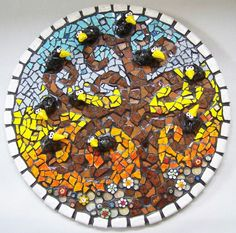 Mosaic Circle Ravens in Tree Picture 'ravens by animalinstincts, $785.00