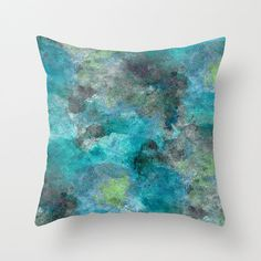 Throw Pillow Teal Turquoise Lime Grey Modern by HLBhomedesigns
