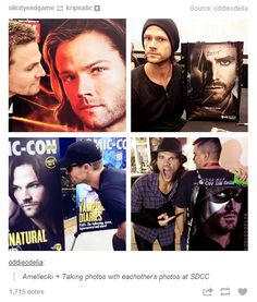 """Stephen Amell and Jared Padalecki freaking out when they see the other on stuff. xD ;D"""