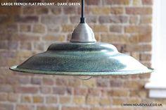 FRENCH GREEN VINTAGE INDUSTRIAL  RETRO PENDANT METAL LAMPSHADE BAR RESTAURANT LIGHTING - 45 cm / 17 inch