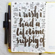 What things do you wish you had a lifetime  supply of? and no, you can't say money…  #journal #artjournal #hobonichi #planner #diary #notebook #filofax #mtn #midori #travelersnotebook #midoritravelersnotebook #scrapbooking #stationery #pens #doodles #doodling #type #typography #letters #lettering #handwriting #handlettering #calligraphy #moderncalligraphy #brushpens #brushlettering