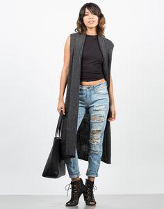 Knit Sweater Vest - Grey Vest - Long Vest – Outerwear – 2020AVE