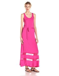 cacb4dfe927 Kensie Womens Light Weight Viscose Spandex Tank Maxi Dress Electric Pink  Small    You can