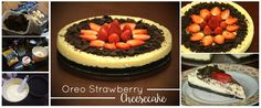 Baked Oreo Strawberry Cheesecake  Recipe inspired by http://www.barbarabakes.com/strawberry-cheesecake-with-an-oreo-cookie-crust/