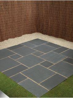 Royale Stones, Natural Limestone Paving Midnight Black Patio Pack - Per Pack Patio Slabs, Patio Tiles, Gravel Patio, Garden Paving, Concrete Patios, Backyard Plan, Small Backyard Landscaping, Backyard Pergola, Back Garden Design