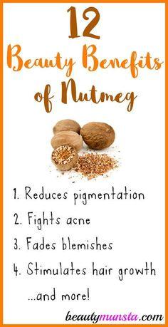 12 Beauty Benefits of Nutmeg for Skin & Hair - beautymunsta - free natural beauty hacks & more! Natural Beauty Tips, Diy Beauty, Beauty Skin, Beauty Hacks, Beauty Care, Natural Things, Face Beauty, Beauty Stuff, Organic Skin Care