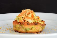 Recipe, grocery list, and nutrition info for Salmon Wasabi Burgers. Quick and easy Salmon Wasabi Burgers are a healthy, spicy entree. Spicy Recipes, Fish Recipes, Seafood Recipes, Gluten Free Recipes, Keto Recipes, Cooking Recipes, Healthy Recipes, Recipies, Candida Recipes