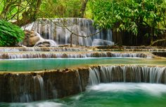 The Kuang Si waterfall is outside of Luang Prabang/Laos. The turquoise waters look so beautiful. Luang Prabang, Vietnam, Vacation Destinations, Vacation Spots, Oh The Places You'll Go, Places To Visit, One Night In Bangkok, Thailand, Culture Art