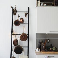[ Creative Kitchen Storage Ideas Diy Ladder Pot Rack Creative Ideas Organize Pots Pans Storage Kitchen Ideas ] - Best Free Home Design Idea & Inspiration Pot Storage, Kitchen Storage, Kitchen Decor, Ladder Storage, Storage Ideas, Kitchen Organization, Storage Solutions, Kitchen Ideas, Extra Storage