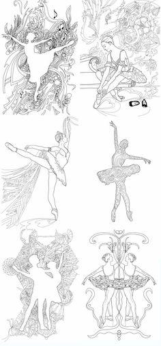 Digital Coloring Page Ballerina