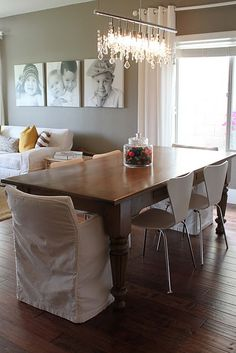 gorgeous farm table with modern chairs