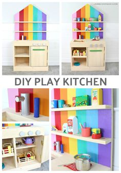 A DIY tutorial to build a simple play kitchen. Make this kids kitchen with sink oven and plenty of storages with free plans. A DIY tutorial to bu Diy Furniture Projects, Diy Wood Projects, Furniture Plans, Home Furniture, Children Furniture, Furniture Logo, Handmade Furniture, Wood Crafts, Bedroom Furniture